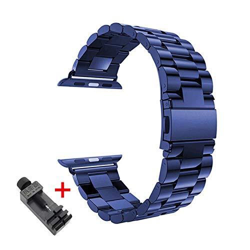 2021 ストラップFor Apple Watchバンド用44 mm 42mm 40mm 38mm For Iwatchシリーズ4 3 2 1ステンレススチールリンクブレスレットウォッチバンドFor Apple Watch5バンド-blue-United States,42mm 44mm