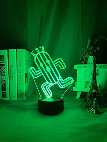 HSHHJSH Luces de Noche 3D lámpara de ilusión óptica-Final Fantasy Cactuar Noche Luz LED Touch Sensor Color Cambiando la luz Nocturna para niños Dormitorio Decoración Lámpara Jugadores