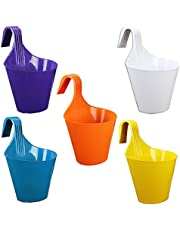 Kraft Seeds Hanging Hook Planter Semi Round Glossy Finish Pots for Home & Balcony Garden 20.5cm x 13.5cm Mouth (Pack of 5)