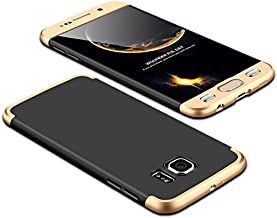 Case Samsung Galaxy S6 360 Degrees protective Cover + tempered glass film, 3 in1 Full Body protection Bumper hard phone Case Ultra-thin Skin Case,for Samsung Galaxy S6 (Black Gold)