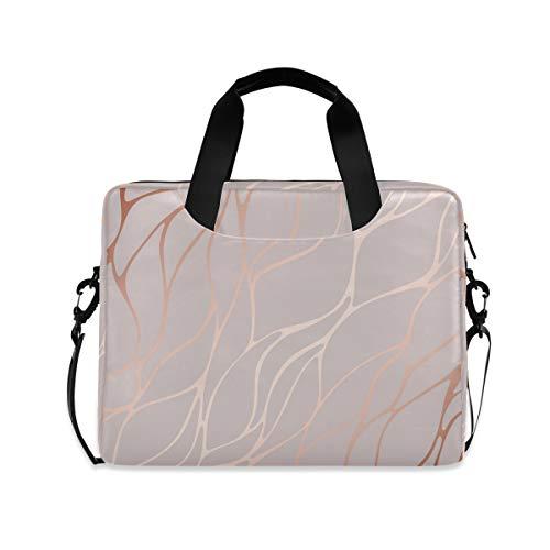 iRoad 15.6 InchLaptop Bag Case Rose Gold Marble Computer Case Laptop Sleeve Case with Shoulder Strap Bag for Women Men