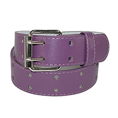 CTM Kids' Leather Two Hole Jean Belt (Pack of 2), Medium, Purple