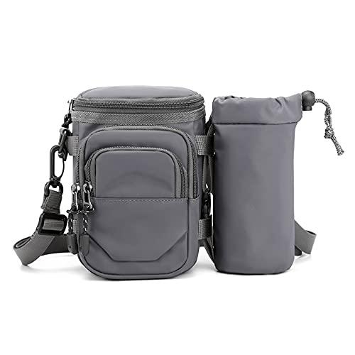 Bolsillos deportivos multifunción, bolsillos para hombre y mujer, bolsillos para correr, para montar a caballo, cinturón y hervidor de agua (color: gris)