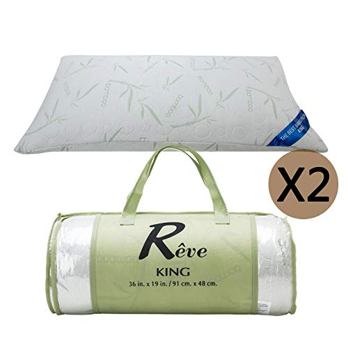 The Original Best Bamboo Memory Foam Hypoallergenic Pillow with Carry Bag (King)