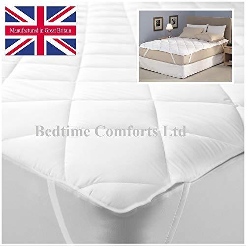 Bedtime Comforts Ltd Materasso Extra Lungo per Studenti Letto Singolo 3' x 7' Trapuntato coprimaterasso (Elasticizzato) 36' x 84', Cotone, Bianco, 3' x 7' (36' x 84')