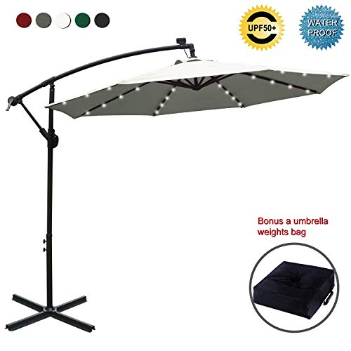 ABCCANOPY 10 FT Solar Powered LED Patio Outdoor Umbrella Hanging Umbrella Cantilever Umbrella Offset Umbrella Easy Open Lift 360 Degree Rotation with 32 LED Lights (Light Beige)