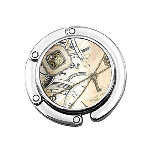 Niedlicher Faltbarer Geldbeutel-Aufhänger für Tisch, Geldbeutel-Haken-Tan viktorianische Steampunk-Uhr beige braune Zahnräder