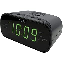 Timex T231GY2 AM/FM Dual Alarm Clock Radio with 1.2-Inch Green Display and Line-in Jack (Gunmetal) (Renewed)