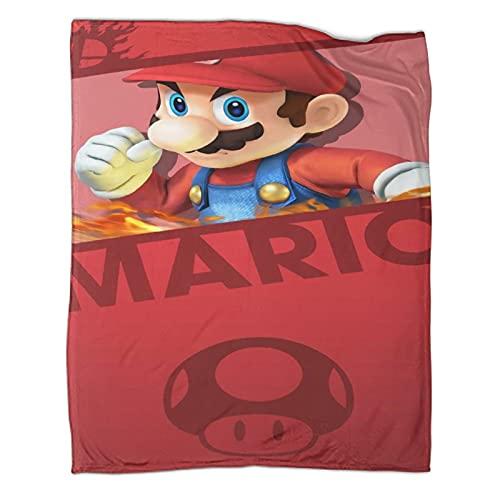 DRAGON VINES Juego Manta Super Mario Bros Mario Luigi Manta Regalos para Niños y Mujer 180 x 230 cm