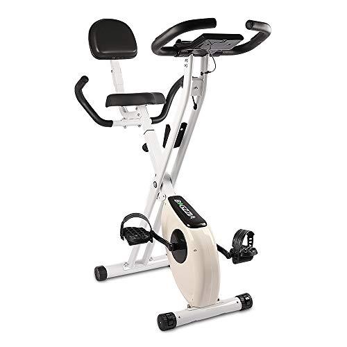 Bigzzia, cyclette verticale e pieghevole con resistenza magnetica/monitor LCD/sensori di impulso, fitness esercizio per palestra di casa, colore nero