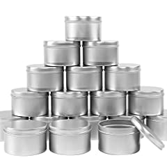 24 large-capacity candle tins Size: 3.2in in diameter and 2in in height. Capacity is 220ml. Color: Silver. Made of high-quality metal aluminum, lightweight and beautiful. With the seamless structure of up and bottle cover, the candle tins have no sha...