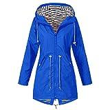 Kulywon Women's Solid Rain Jacket Outdoor Jackets Waterproof Hooded Raincoat Windproof Blue