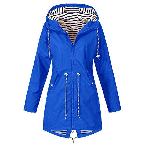 CixNy Damen Windjacke Solid Rain Jacket Outdoor Funktionsmantel Trenchcoat Hoodie Wasserdichter Regenmantel mit Kapuze Winddicht wasserdichte Windjacke Langem Mantel für Damen (Y-Blau, XL)