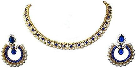 Shree Mauli Creation White and Blue Alloy Tilak Pearl Polki Necklace Set for Women