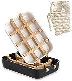 admin Jabonera de bambú natural respetuosa con el medio ambiente, con bandeja recogedora de fibra de bambú + caja para jabón en blanco y negro + 2 bolsas de jabón