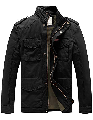WenVen Men's Cotton Military Casual Stand Collar Field Jacket (Black, Large)