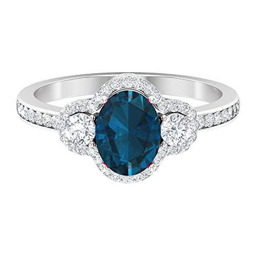 Anillo de compromiso con halo de 2 quilates para mujer con topacio azul londinense y diamantes (8 x 6 mm, talla ovalada, 14K Oro blanco, Size:EU 49