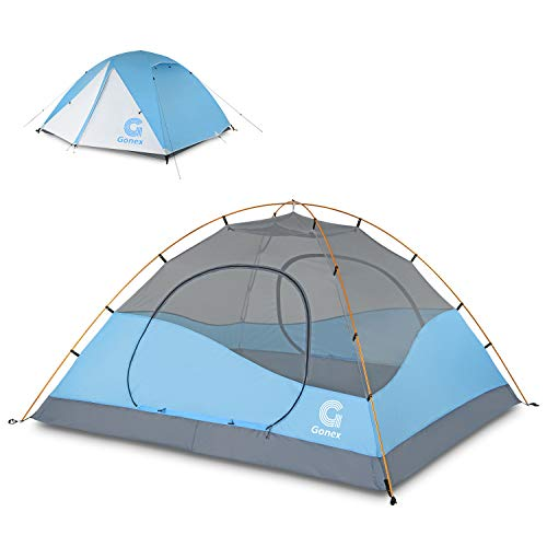 Gonex Camping Tent 3 to 4 Person, Backpacking Dome Tent Waterproof Windproof for Camping Hiking Backpacking Mountaineering Outdoor Activities, Blue White