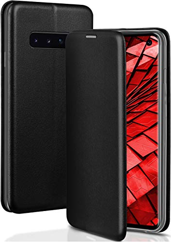 ONEFLOW Handyhülle kompatibel mit Samsung Galaxy S10 - Hülle klappbar, Handytasche mit Kartenfach, Flip Hülle Call Funktion, Klapphülle in Leder Optik, Schwarz