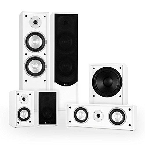 Auna Linie-300-WH 5.1 Heimkino Lautsprecher Set Soundsystem (515W RMS, 2 Standlautsprecher, 2 Regallautsprecher, 1 Centerlautsprecher, 1 Subwoofer) weiß