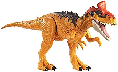Jurassic World Sound Strike Cryolophosaurus Figure with Strike and Chomping Action, Realistic Sounds, Movable Joints, Authentic Color and Texture; Ages 4 and Up by Mattel