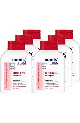 numis med Shampoo mit 5% Urea - Haarpflege parfümfrei & vegan - Haarshampoo für sensible, zu Neurodermitis neigende & trockene Haut - Haar Shampoo im 6er Pack (6x 200 ml)