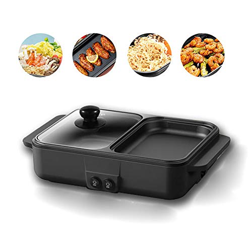 Buy QYXM Smokeless Grill, Electric Indoor Grill Electric Smokeless Grill and Hot Pot with 2 Power Levels/Visual Glass Cover, Non-Stick Coating, Use for Family/Dorm-1200W,B