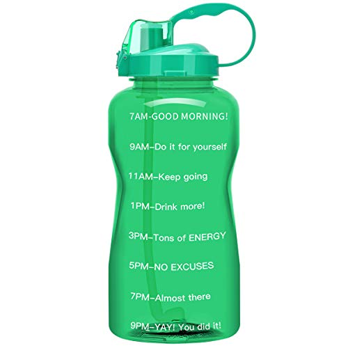 QuiFit Gallon Water Bottle with Straw and Motivational Time Marker BPA Free Reusable Large Capacity Sport Water Jug with Handle Ensure Your Daily Water Intake(Light Green,1 Gallon)
