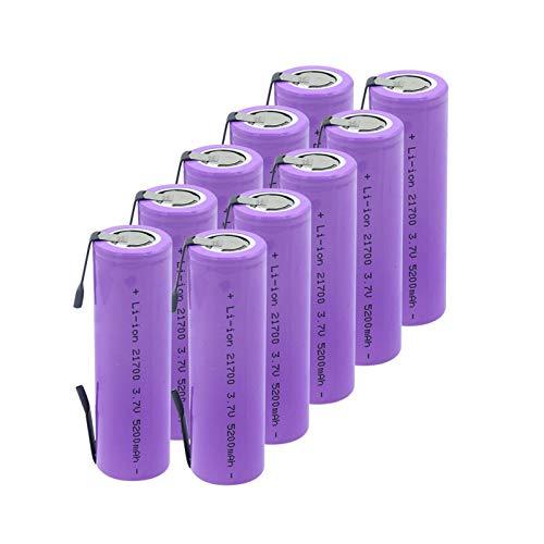 RitzyRose Batería de iones de litio 3,7 V 5200 mAh 21700 20 A recargable para linterna eléctrica 10 unidades