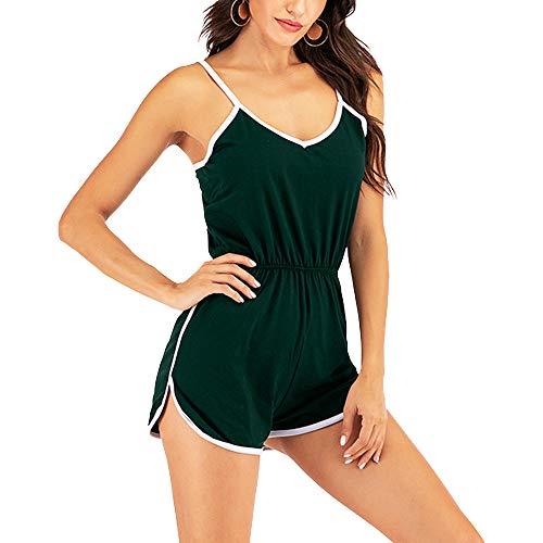 JOINFUN Women's Puls Size Jumpsuits Spaghetti Strap Sport Fitness Bodysuits Leotards Green 4XL