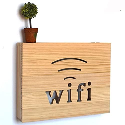 Soporte de pared para enrutador, estante de pared flotante, caja de almacenamiento WiFi, caja organizadora de cables, protector de regleta, fácil de instalar ( Color : Natural , Size : 40*39.5cm )