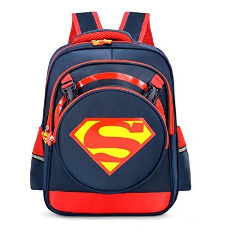 Waterproof Superman Backpack Avengers 3D School bag Super Hero SchoolBag Student Bookbag Batman For Kids ... (Superman-darkblue-L)