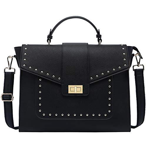 15.6 Inch Laptop-Briefcase-for-Women,Classic Black Work Bag Laptop-Messenger-Bag Satchel Computer-Bags,Perfect for Work Business Travel School,Black