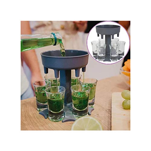 Wyongtao Dispensador de Vaso de chupito Seis Formas, Gran Regalo de Fiesta, dispensador de 6 chupitos múltiple, dispensador de chupito de Barra, dispensador de cóctel (Gris)
