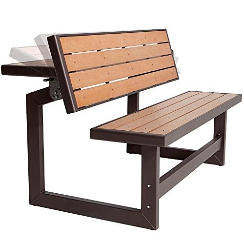 LIFETIME 60054 - Banco jardín, respaldo abatible, Banco convertible en mesa, medidas 141x36x48 cm, Polietileno de alta densidad, resistente al agua, protección UV, color madera