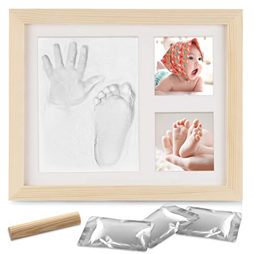 NAJILI Baby Handabdruck und Fußabdruck, Holz Bilderrahmen Fussabdruck Set mit Gipsabdruck, Baby Hand und Fuß Gipsabdruck Abdruckset - Geschenken für Babys Neugeborene - Holzfarbe