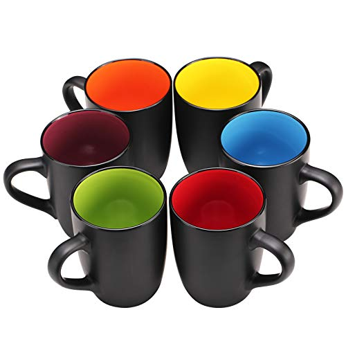 YouPeng Coffee Mug Set of 6, 16 Oz Large Coffee Mug with Handle, Dishwasher Safe Ceramic Mugs for Coffee, Cocoa, Latte, Tea, Gift for Housewarming, Birthday, Party (Matte Black)