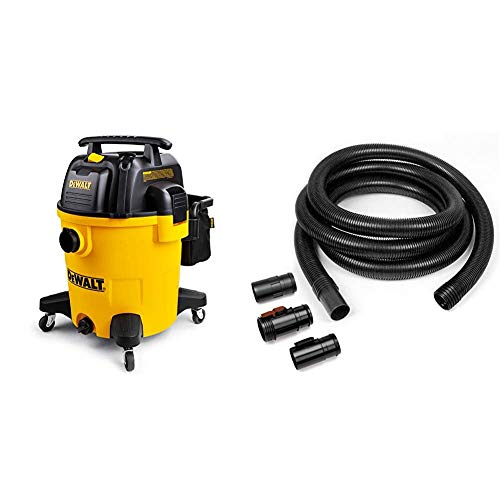 DeWALT 12 Gallon Poly Wet/Dry Vac & Workshop Wet Dry Vacuum Accessories WS25022A Extra Long Wet Dry Vacuum Hose, 2-1/2-Inch x 20-Feet Locking Wet Dry Vac Hose for Wet Dry Shop Vacuums