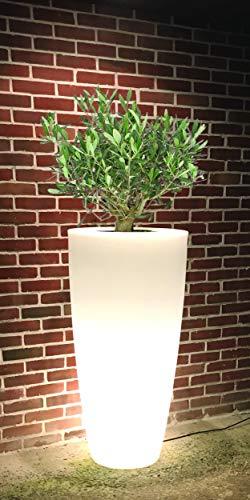 Pot de fleurs conique de coloris blanc DELIGHT 200 L avec équipement d'éclairage. Finition grainée, Hauteur : 121 cm, Largeur et Longueur: 60 cm