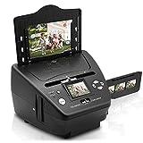 QCHEA Digital 3-en-1 escáner fotográfico, Diapositiva y escáner de película - Convertir películas de 35 mm Negativos y Diapositivas - HD con 5.1 MP - Pantalla LCD Digital, fácil de Usar