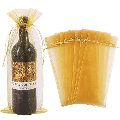 30 goldene Organza-Weintüten, durchsichtige Netz-Flaschen-Geschenkbeutel, Weinabdeckung, Kleider mit Kordelzug für Weihnachten