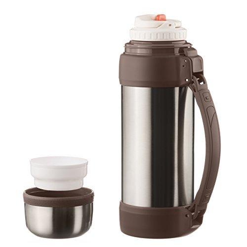 Dimono® Vakuum Isolierkanne XXL 2 Liter Thermoskanne doppelwandige Isolierflasche Thermokanne Isokanne mit Tasse und Tragegurt (Edelstahl-Pur)