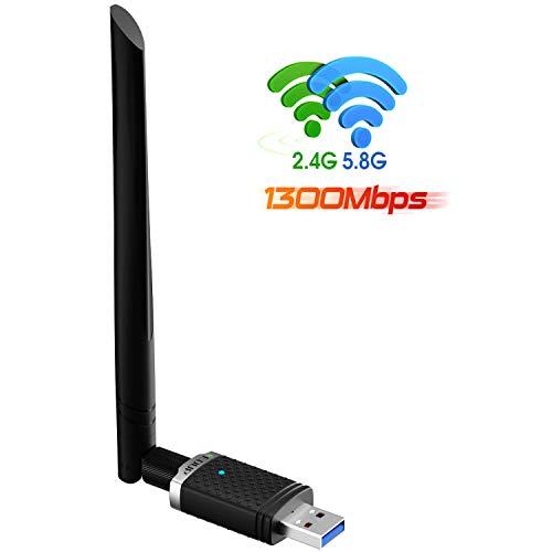 USB WiFi Adapter 1300Mbps, USB 3.0 WiFi Dongle 802.11 ac Wireless Network Adapter with Dual Band 2.4GHz/ 5.8GHz 5dBi Antenna for Desktop Windows XP/Vista / 7/8.1/10 /Mac 10. 6-10.14. 6