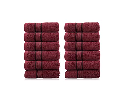 COTTON CRAFT Ultra Soft Luxury Set of 12 Ringspun Cotton Washcloths, 580GSM, Heavyweight, 12 inch x 12 inch, Burgundy