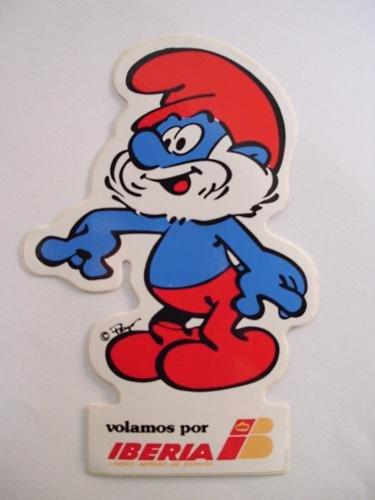 Pegatina Adhesivo Publicidad - Advertising Bumper Sticker : IBERIA - Pitufo