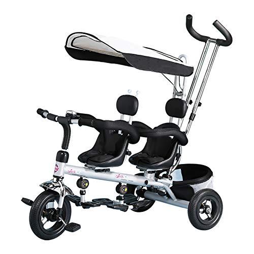 CHEERALL Kinder-Dreirad-Trike, Doppel 4-in-1-Kinder-Trike mit Korb, abnehmbarem Lenker und Baldachin, 3-Rad-Fahrrad für Kleinkind, Zwillingssitz