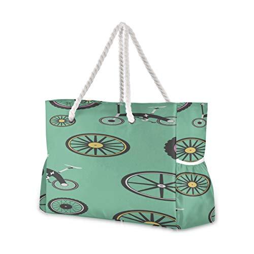 YXUAOQ Strandtasche Stilvolles Fahrradrad Radspiel Sport Familie Strandtaschen Herren Reisetasche 20,5 x 7,3 x 15 Zoll Reißverschluss mit Baumwollgriff für Picknicks Reiseurlaub