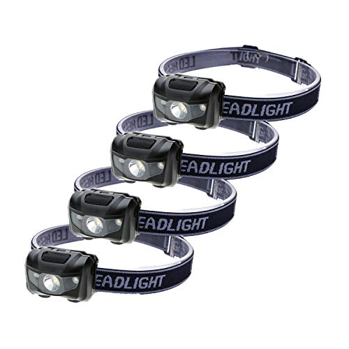 4-Pack Waterproof LED Headlamp (White and Red Lights), 4 Light Modes Lightweight Headlight for Running, Hiking, Hunting, Fishing, Camping