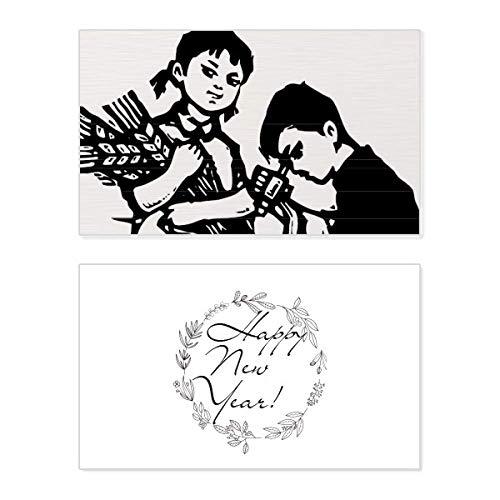Tarjeta de felicitación conmemorativa de año nuevo con diseño de Microscopio de Trigo para niño y niña