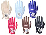 Simple Symbol Men's Golf Glove High Grade Leather Six Colors to Choose from Red/Blue/Navy Blue/Sky Blue/Coffee/Beige, Left Hand Right Hand (Coffee,M,Left)